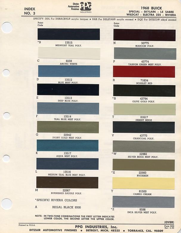 1968 paint codes